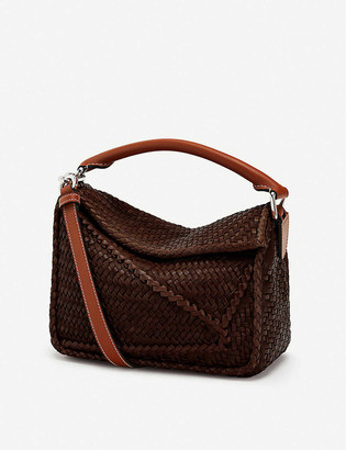 Loewe Puzzle small woven leather shoulder bag