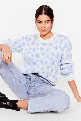 Nasty Gal Womens Tail Me About Knit Relaxed Leopard Jumper - Blue - L