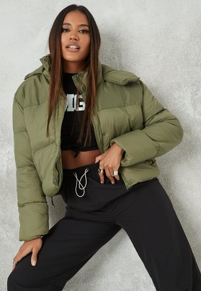 Missguided Khaki Textured Hooded Puffer Jacket