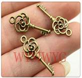 Nobrand No brand 8pcs 27mm antique bronze plated key charms