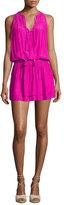 Ramy Brook Maggie Sleeveless Smocked Split-Neck Dress, Paradise Pink
