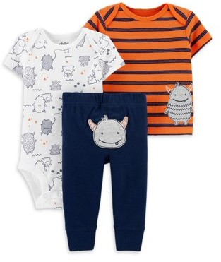 Child of Mine by Carter's Baby Boy Short Sleeve Shirt, Short Sleeve Bodysuit, and Pants Outfit Set, 3pc set