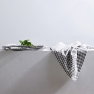 The White Company Gingham Napkin - Set of 4, White Grey, One Size