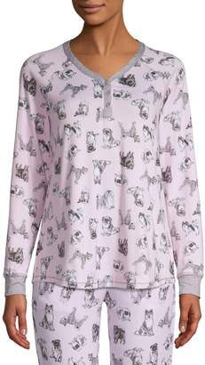 Emily And Jane Dog Lovers Relaxed-Fit Printed Pyjama Top