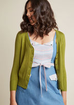 MCS1014 Show your style smarts in this versatile cardigan! With a buttoned front, 3/4-length sleeves, and a fine, soft knit with ribbed edges, this bright green sweater will be your favorite wardrobe staple. No matter how you wear it, this ModCloth-exclusive piec