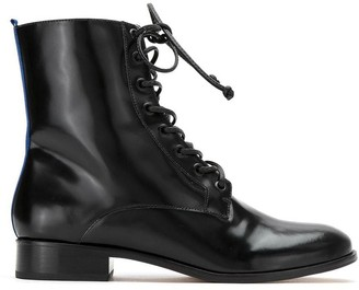 Blue Bird Shoes Leather Combat Boots