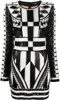 Balmain sequinned crystal bodycon dress