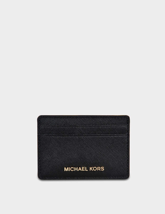 MICHAEL Michael Kors Jet Set Travel Card Holder in Black Saffiano Leather