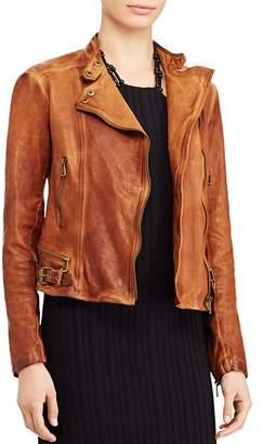 Ralph Lauren Burnished Leather Moto Jacket
