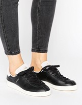 adidas Topanga Unisex Sneakers In Black Leather With Pink Suede Trim