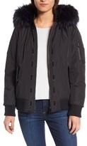 Sam Edelman Women's Faux Fur Trim Hooded Satin Bomber Jacket