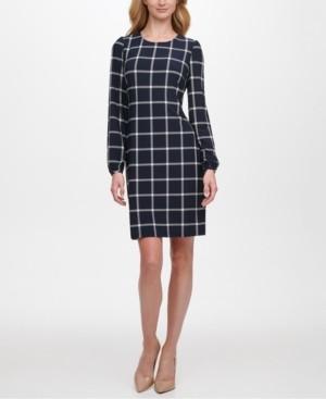 Tommy Hilfiger Grid-Print Sheath Dress