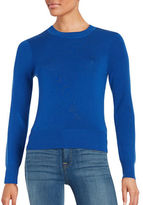DKNY Cropped Merino Wool Crew Neck Sweater