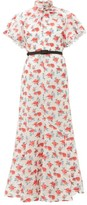 Erdem Celestina Rose Fil Coupe Organza Dress - Womens - White Multi