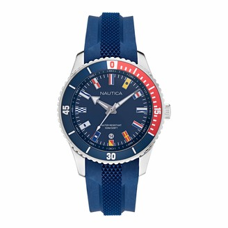 Nautica Men's Stainless Steel Quartz Silicone Strap Blue 22 Casual Watch (Model: NAPPBS038)