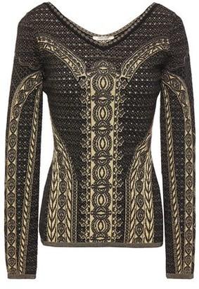 Roberto Cavalli Metallic Pointelle And Jacquard-knit Sweater