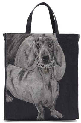 Acne Studios Audrey Dog-jacquard Denim Tote Bag - Blue