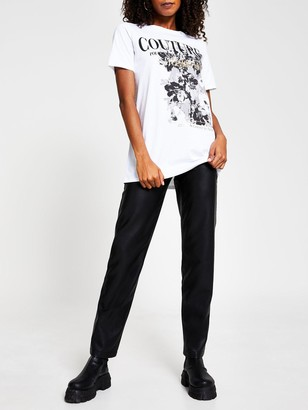River Island Couture Floral Jumbo T-shirt - White