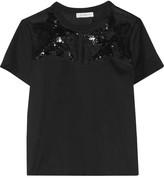 Sandro Taylor embellished silk organza-paneled cotton T-shirt