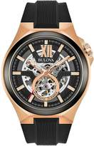 Bulova Automatic sports skeleton rose gold silicone strap mens watch