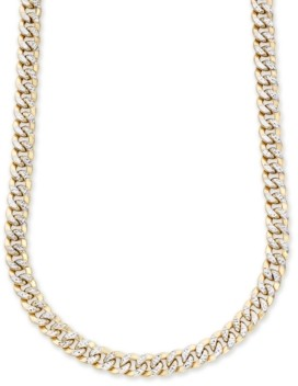 """Italian Gold Men's Two-Tone Curb Link 22"""" Chain Necklace in 10K Yellow and White Gold"""