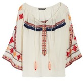 Kas Women's Juana Embroidered Peasant Top