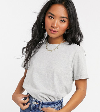 ASOS DESIGN Petite ultimate organic cotton t-shirt with crew neck in gray marl