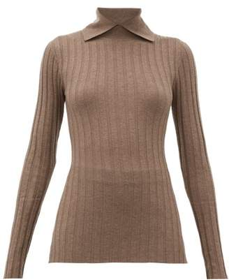 Totême Aviles Point-collar Ribbed Wool-blend Sweater - Womens - Light Brown