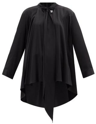 Balenciaga - Pussy-bow Striped Satin Blouse - Black