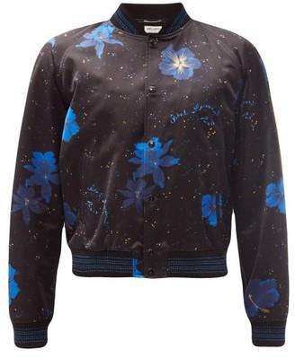 Saint Laurent Hibiscus-print Cotton-blend Sateen Bomber Jacket - Black