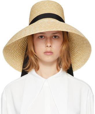 Kimhekim Beige Woven Straw Beach Hat