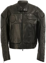 Juun.J panel detail biker jacket - men - Cotton/Sheep Skin/Shearling/Polyester/Rayon - 46