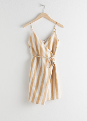 And other stories Striped Cotton Linen Mini Wrap Dress