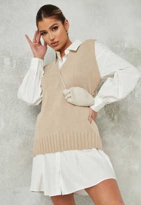 Missguided Stone V Neck Sleeveless Knit Tunic