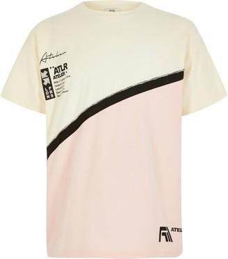 River Island Girls Cream ATLR colour blocked T-shirt