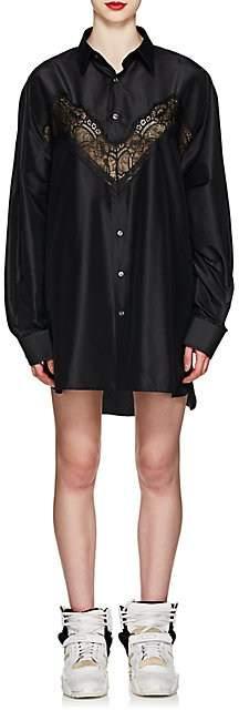 Maison Margiela Women's Lace-Inset Silk Shirtdress - Black