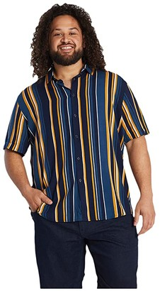 Johnny Bigg Big Tall Vance Vertical Stripe Shirt (Gold) Men's Clothing