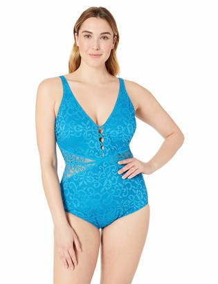 Gottex Women's Plus-Size Thick Strap V-Neck One Piece Swimsuit