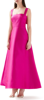 ML Monique Lhuillier Sleeveless Satin A-Line Gown with Bow-Back Detail