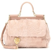 Dolce & Gabbana Miss Sicily Medium Leather And Shearling Shoulder Bag