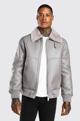boohoo Mens Grey Leather Look Fur Collar Aviator Bomber Jacket, Grey
