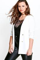 boohoo Plus Amber Button Front Blazer ivory