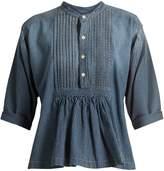Current/Elliott Pintuck gathered cotton shirt