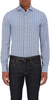 Finamore MEN'S CHECKED POPLIN SHIRT-BLUE SIZE L