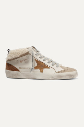 Golden Goose Mid Star Distressed Leather, Suede And Shearling Sneakers - Beige