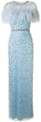 Jenny Packham Feather-Embellished Column Gown
