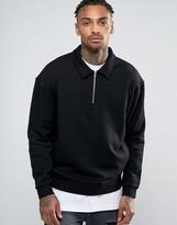 Asos Sweatshirt With Half Zip And Collar