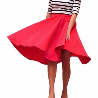 Toamen Women's Dress Toamen Vintage Skirts Sale Women's High Waisted A Line Swing Street Skirt Skater Pleated Full Midi Skirt (Red 8)
