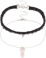 Accessorize 2x Lace & Stone Choker Necklace Pack