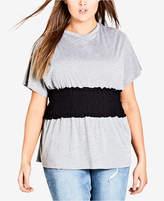 City Chic Trendy Plus Size Shirred-Waist Top